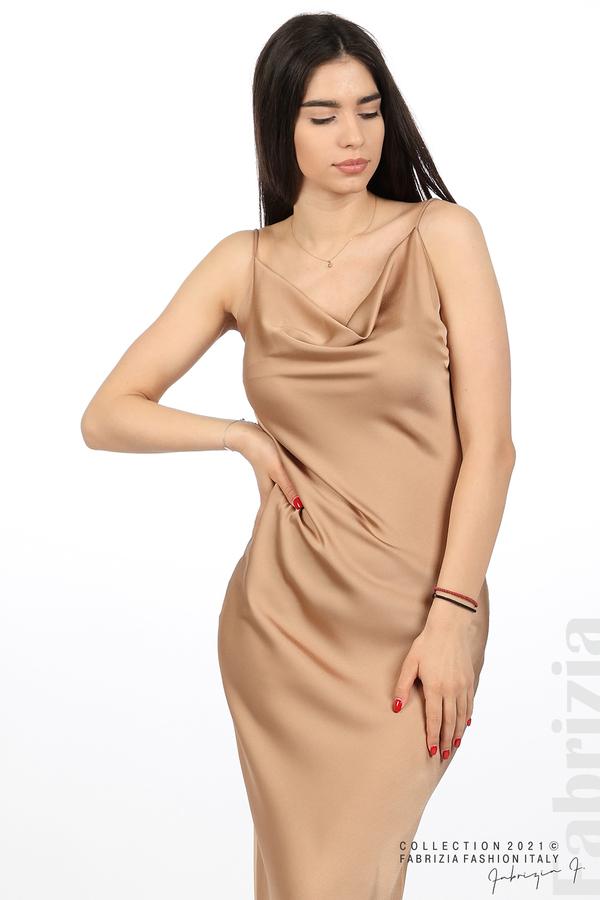 Сатенирана дълга рокля карамел 1 fabrizia