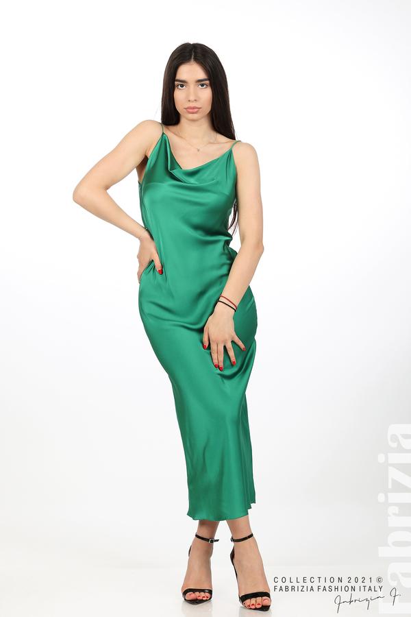 Сатенирана дълга рокля зелен 2 fabrizia