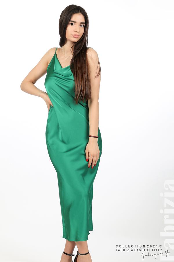 Сатенирана дълга рокля зелен 4 fabrizia