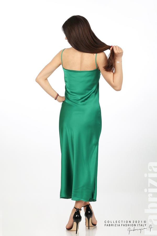 Сатенирана дълга рокля зелен 5 fabrizia