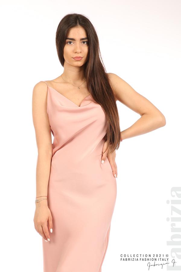 Сатенирана дълга рокля пепел от рози 1 fabrizia