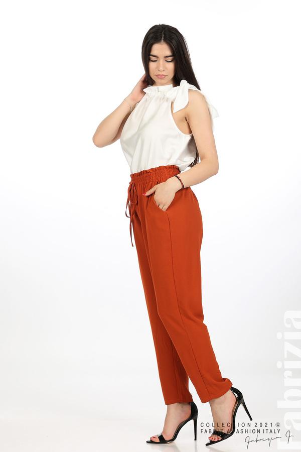 Едноцветен панталон с ластична талия керемида 3 fabrizia