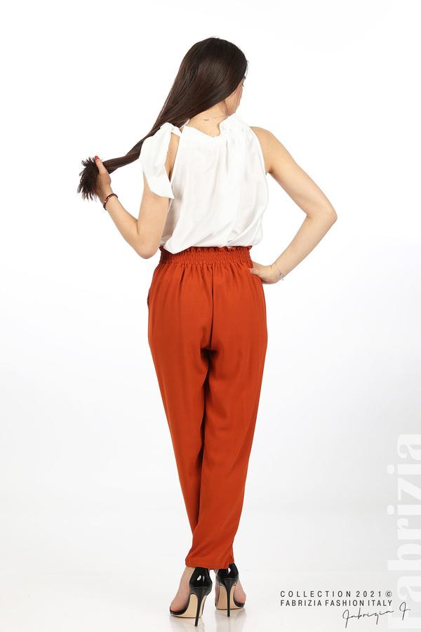 Едноцветен панталон с ластична талия керемида 5 fabrizia