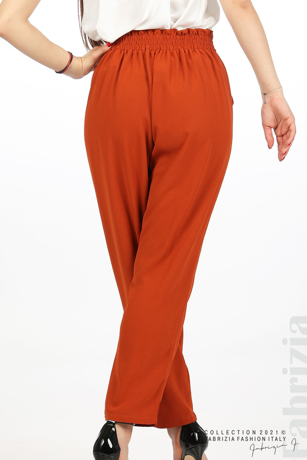 Едноцветен панталон с ластична талия керемида 6 fabrizia