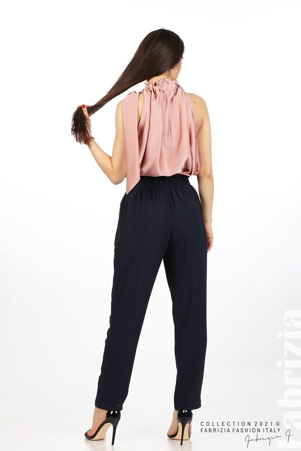 Едноцветен панталон с ластична талия т.син 7 fabrizia