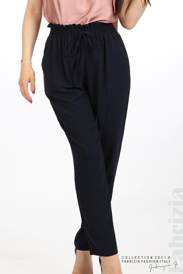 Едноцветен панталон с ластична талия т.син 2 fabrizia