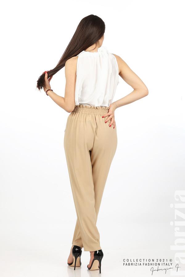 Едноцветен панталон с ластична талия бежов 6 fabrizia