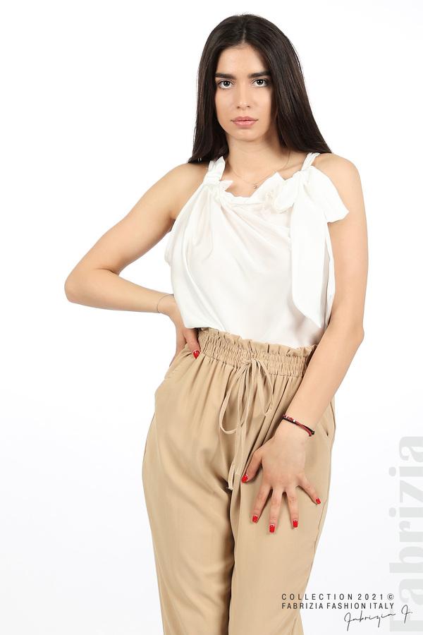 Едноцветен панталон с ластична талия бежов 3 fabrizia