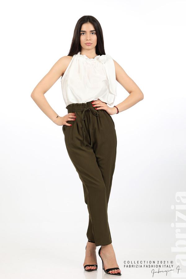 Едноцветен панталон с ластична талия каки 1 fabrizia
