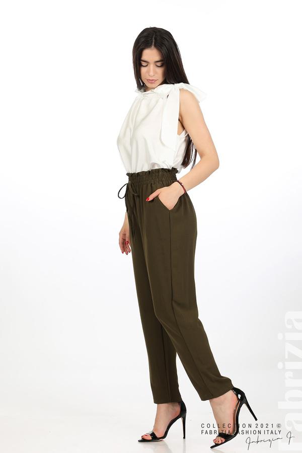 Едноцветен панталон с ластична талия каки 4 fabrizia