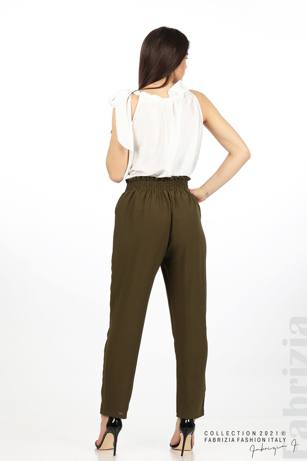 Едноцветен панталон с ластична талия каки 6 fabrizia