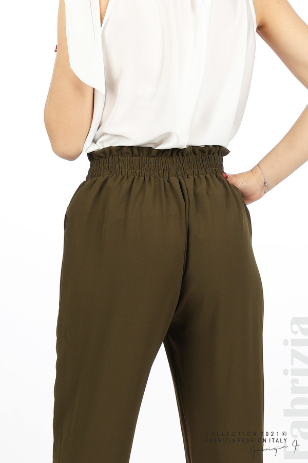 Едноцветен панталон с ластична талия каки 5 fabrizia