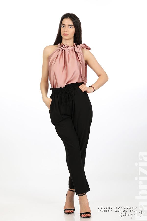 Едноцветен панталон с ластична талия черен 1 fabrizia