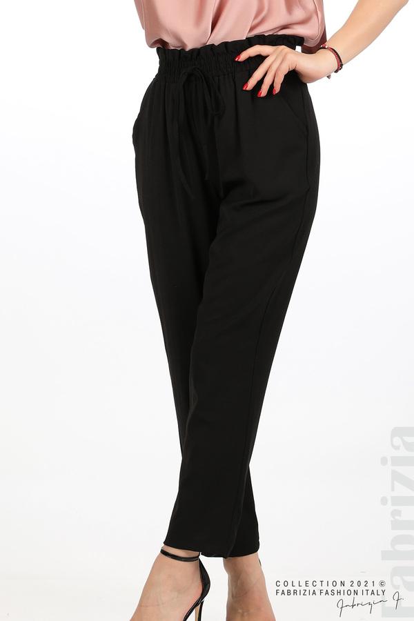 Едноцветен панталон с ластична талия черен 2 fabrizia