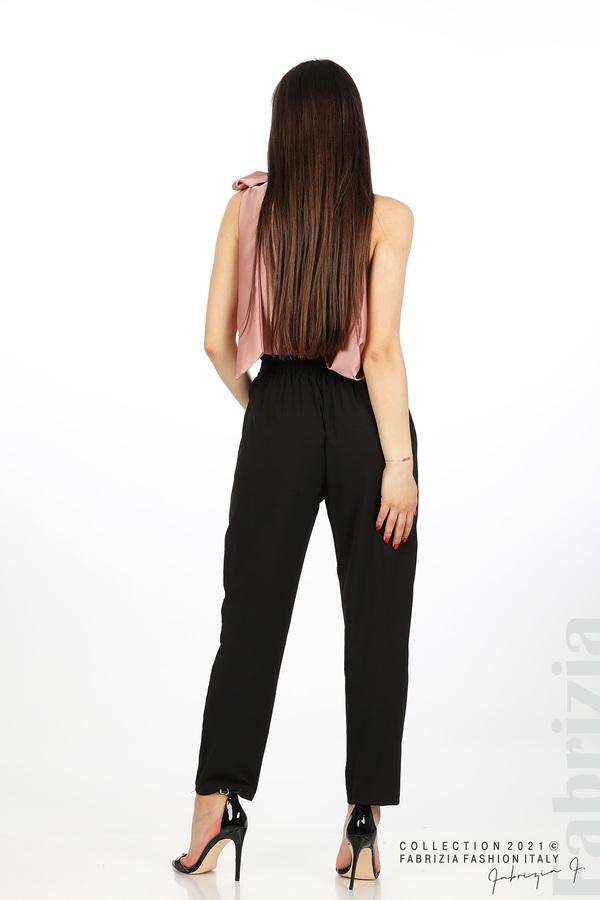Едноцветен панталон с ластична талия черен 6 fabrizia