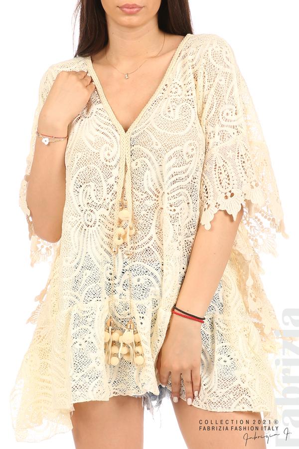 Плетена туника с пискюли екрю 2 fabrizia