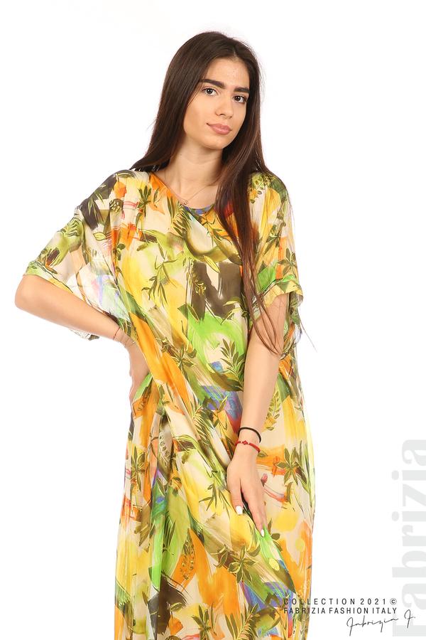 Многоцветна свободна рокля оранж/зелен 4 fabrizia