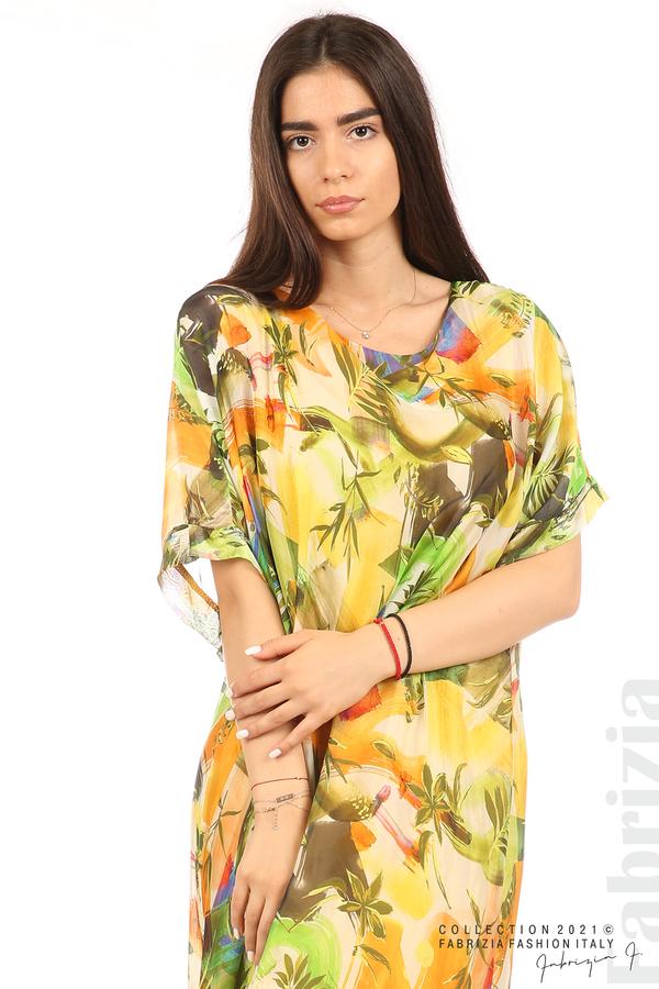 Многоцветна свободна рокля оранж/зелен 1 fabrizia