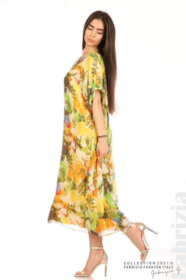 Многоцветна свободна рокля оранж/зелен 5 fabrizia