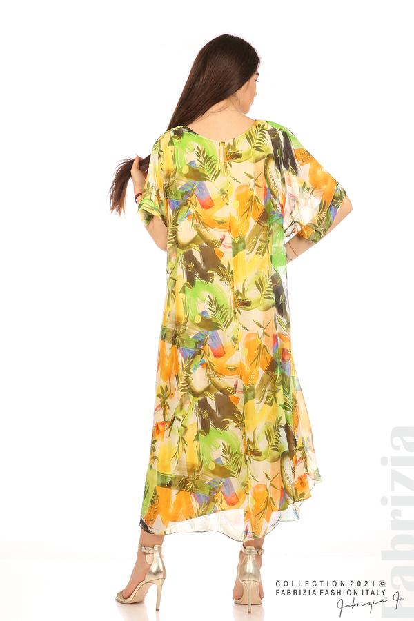 Многоцветна свободна рокля оранж/зелен 6 fabrizia
