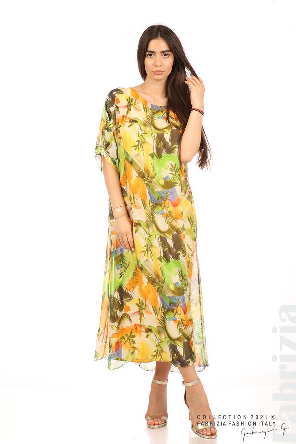 Многоцветна свободна рокля оранж/зелен 3 fabrizia