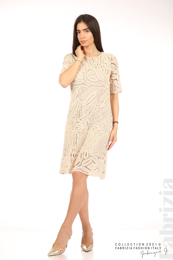 Плетена дамска рокля бежов 3 fabrizia