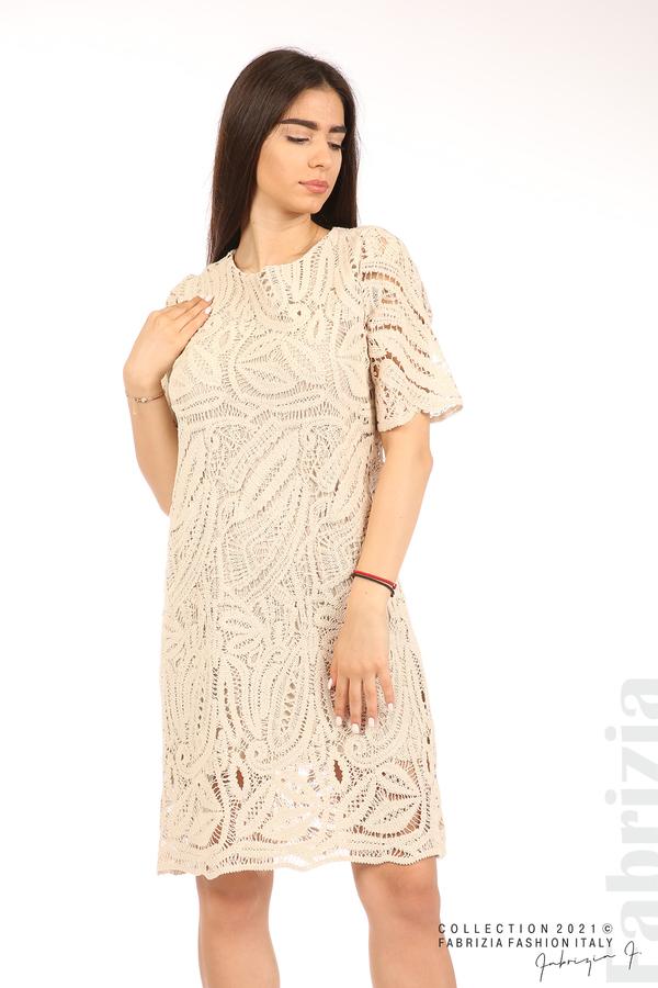 Плетена дамска рокля бежов 4 fabrizia
