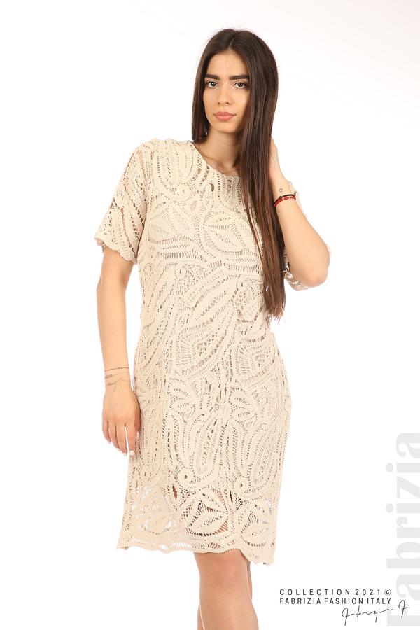 Плетена дамска рокля бежов 5 fabrizia