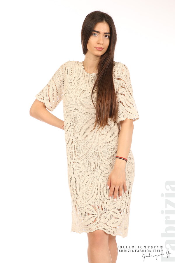 Плетена дамска рокля бежов 1 fabrizia