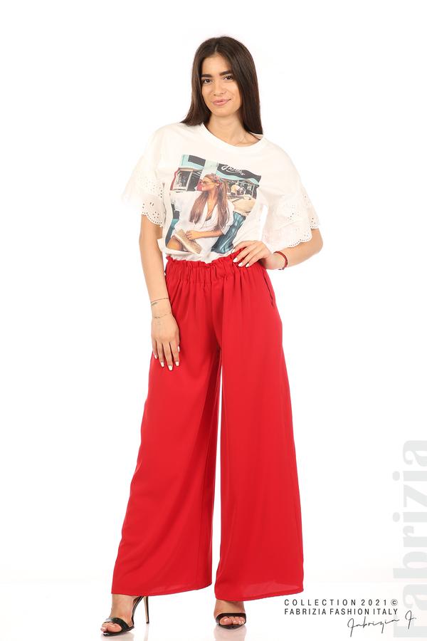 Дълъг едноцветен панталон червен 1 fabrizia