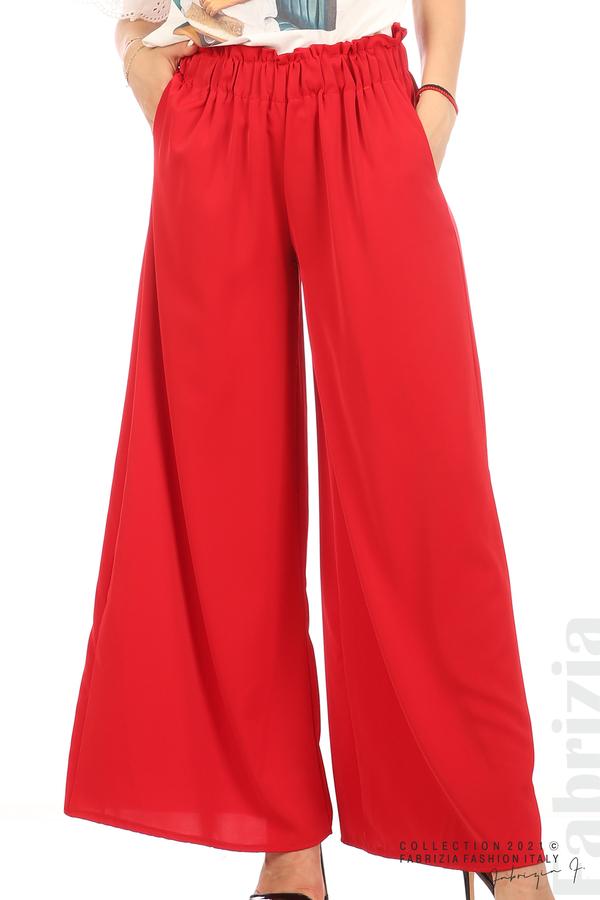 Дълъг едноцветен панталон червен 2 fabrizia