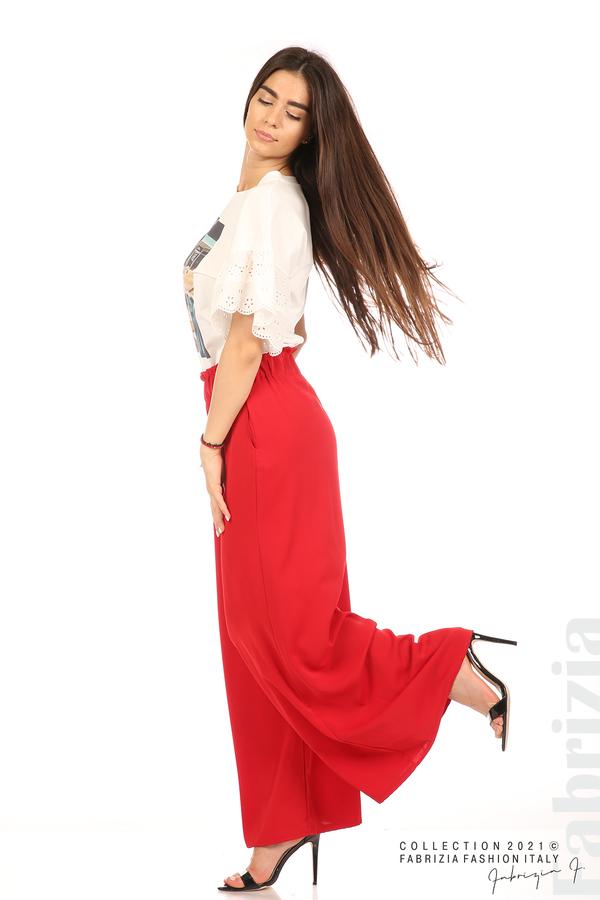Дълъг едноцветен панталон червен 4 fabrizia