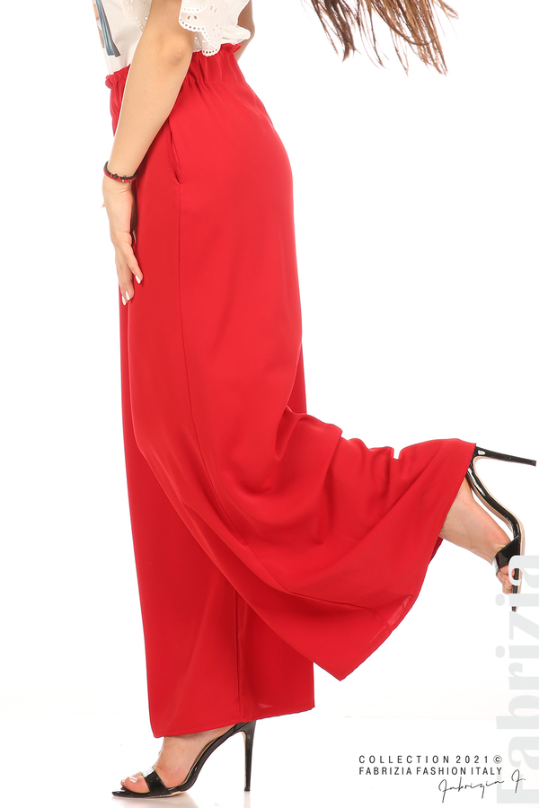 Дълъг едноцветен панталон червен 5 fabrizia