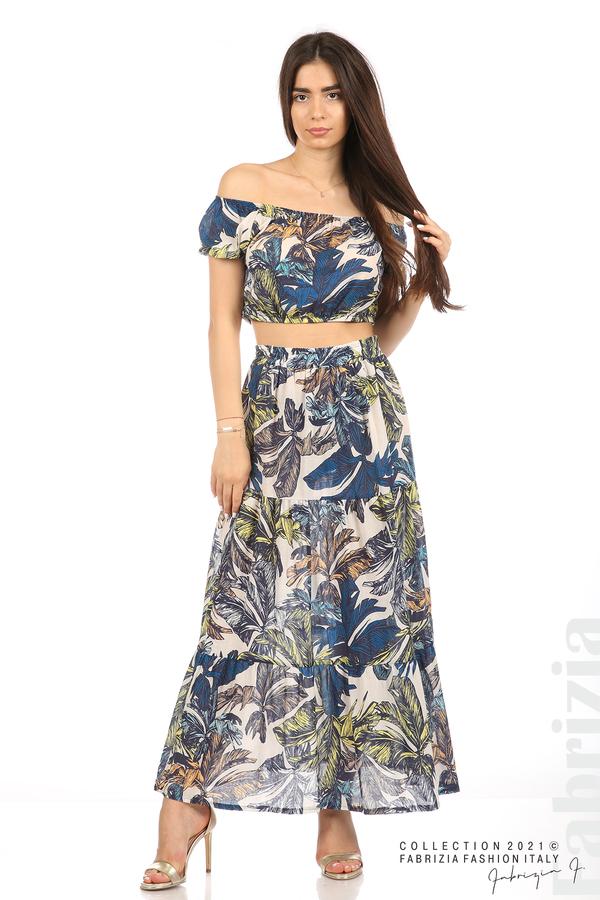 Комплект блуза и пола листа син/жълт 1 fabrizia