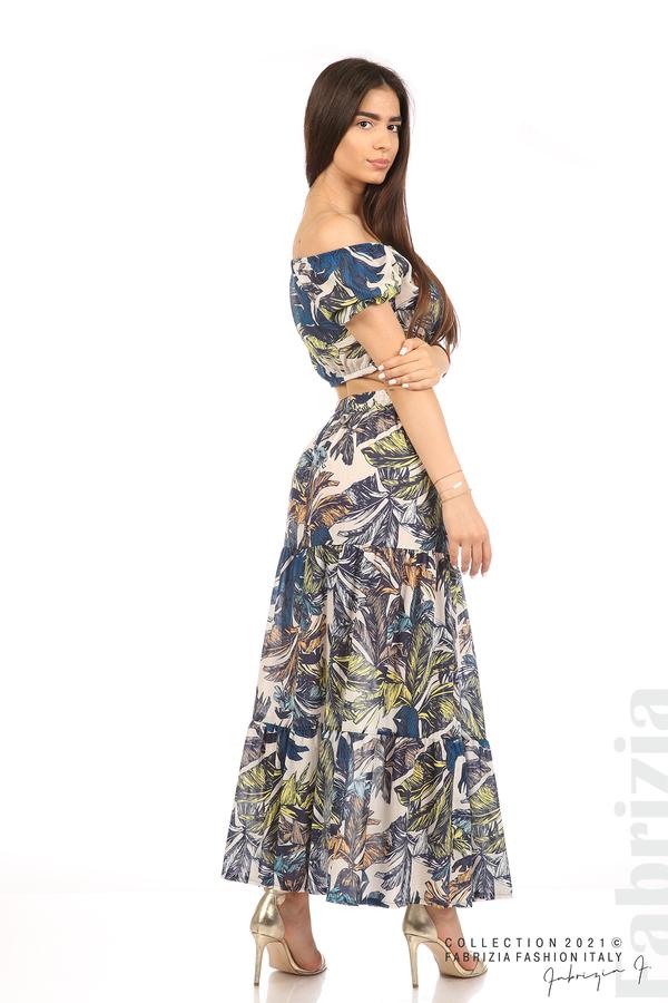 Комплект блуза и пола листа син/жълт 6 fabrizia