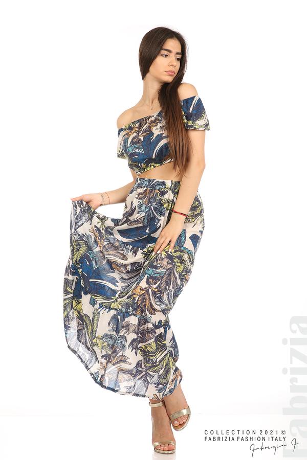 Комплект блуза и пола листа син/жълт 4 fabrizia