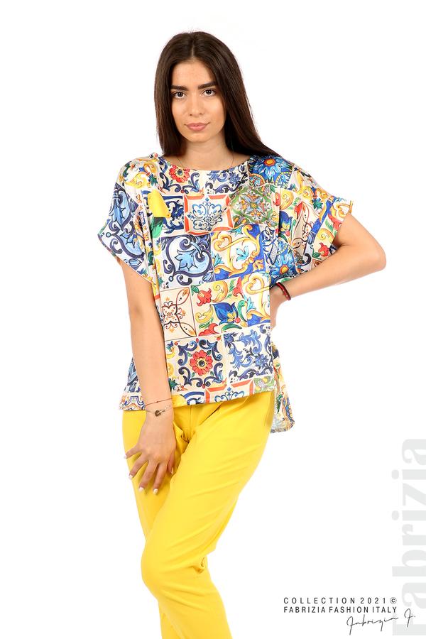 Сатенирана многоцветна блуза многоцветен 1 fabrizia