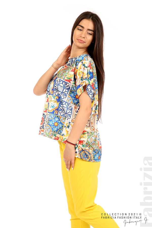 Сатенирана многоцветна блуза многоцветен 3 fabrizia