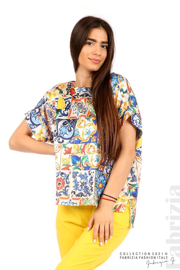 Сатенирана многоцветна блуза многоцветен 2 fabrizia