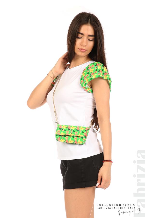 Дамски топ с чантичка бял/зелен 5 fabrizia