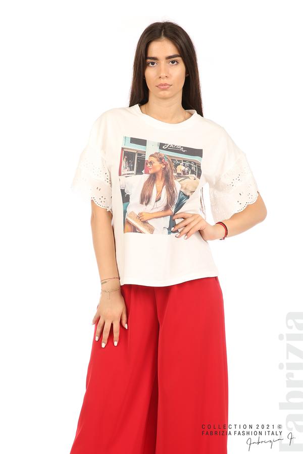 Блуза с щампа и ефектни ръкави екрю 3 fabrizia