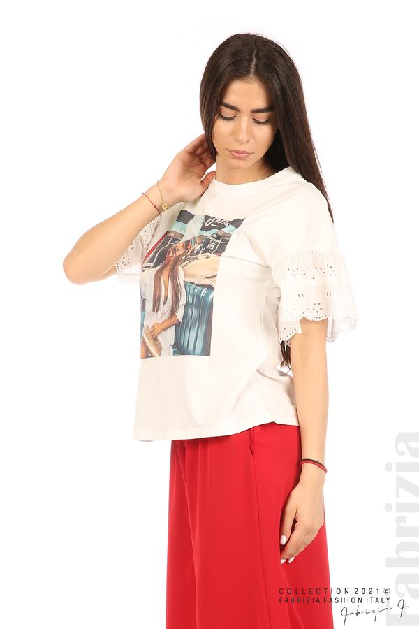 Блуза с щампа и ефектни ръкави екрю 4 fabrizia