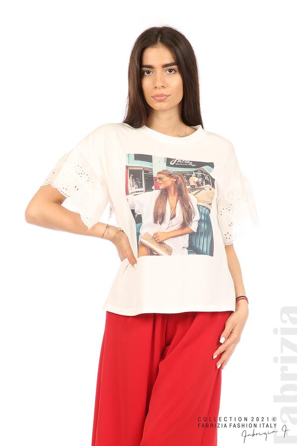 Блуза с щампа и ефектни ръкави екрю 1 fabrizia