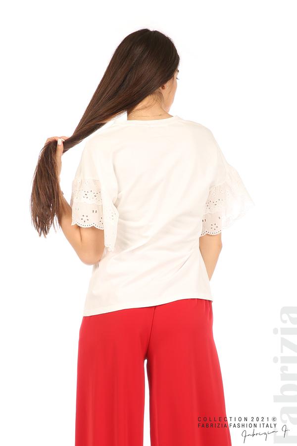 Блуза с щампа и ефектни ръкави екрю 5 fabrizia