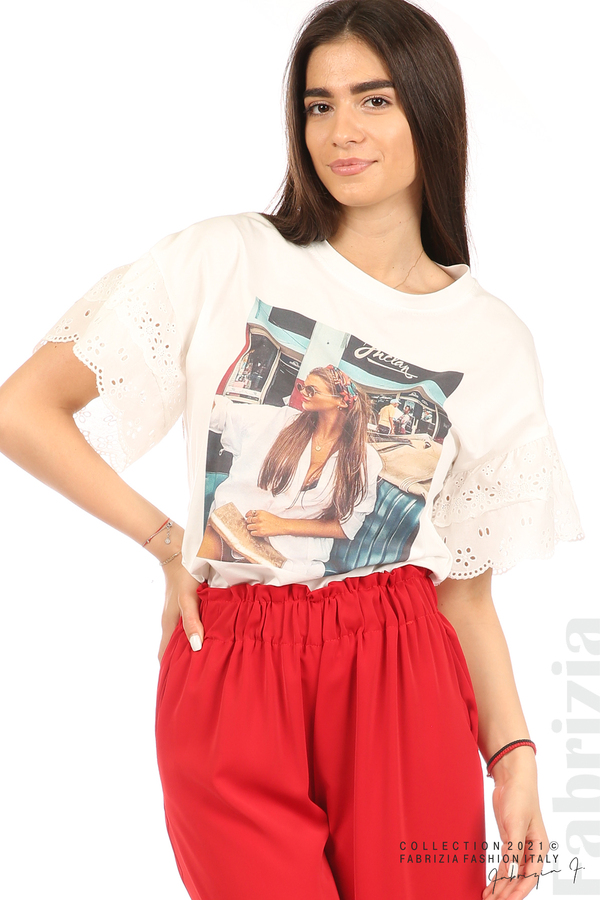 Блуза с щампа и ефектни ръкави екрю 2 fabrizia