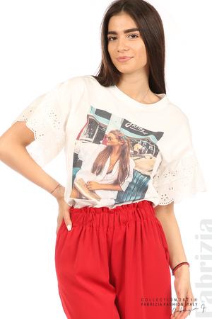 Блуза с щампа и ефектни ръкави