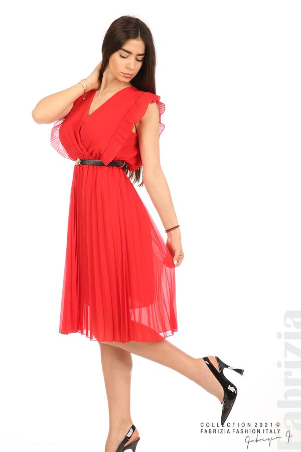 Едноцветна рокля солей с колан червен 5 fabrizia