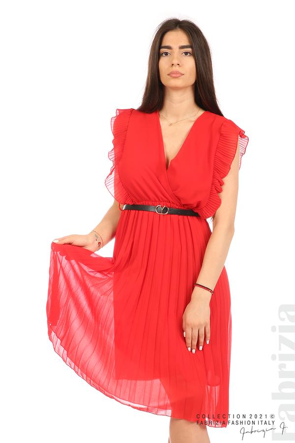 Едноцветна рокля солей с колан червен 3 fabrizia