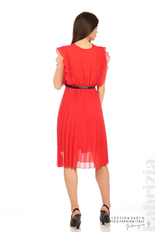 Едноцветна рокля солей с колан червен 6 fabrizia