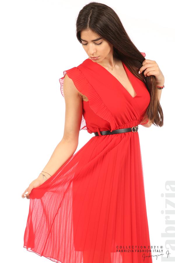 Едноцветна рокля солей с колан червен 4 fabrizia